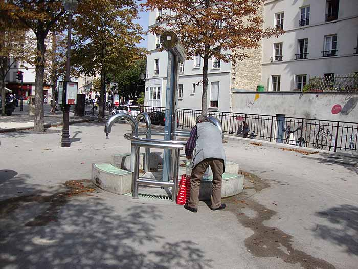 Paris, France Place Paul Verlaine, artesian well