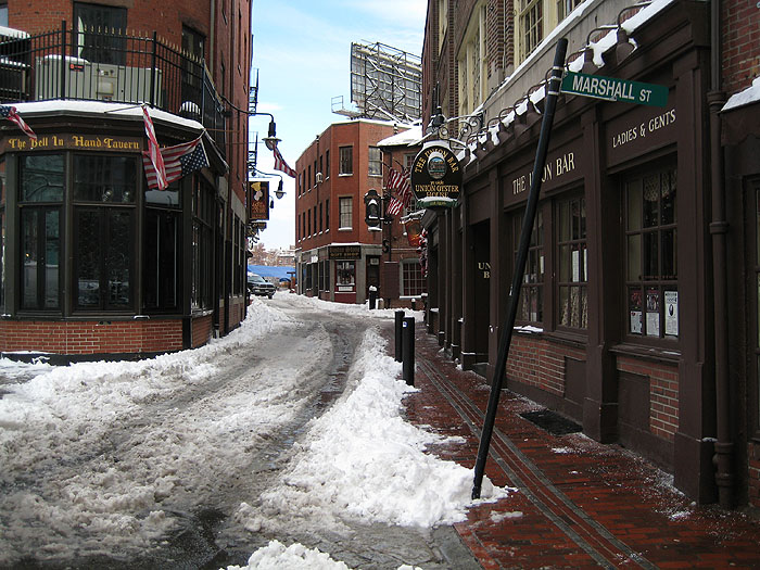 Winter >Marshall Street behind Ye Olde Union Oyster House